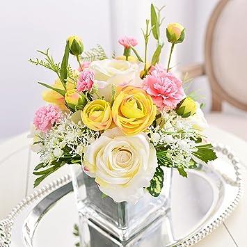 Dsaaa Kunstliche Blume Glas Vase Seidenblume Rose Nach Hause
