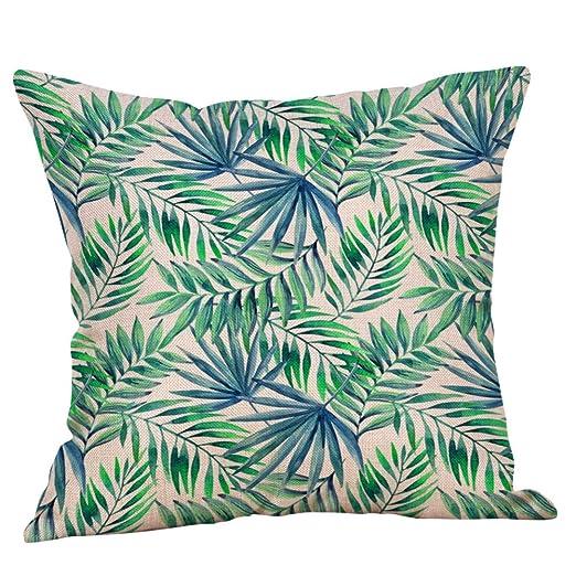 Loolik Fundas de Cojines,Patrón de Plantas Tropicales Lino Throw Pillow Case Funda de Almohada para Cojín 45x45 CM (B)