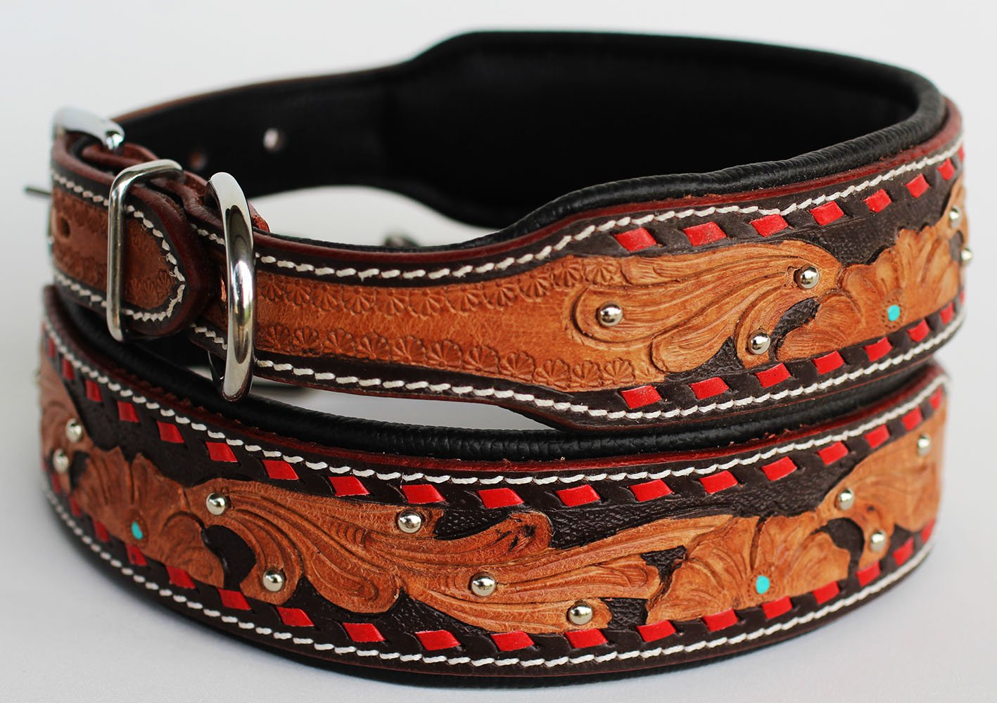 Large 21''- 25'' Dog Puppy Collar Genuine Cow Leather Padded Canine 6098