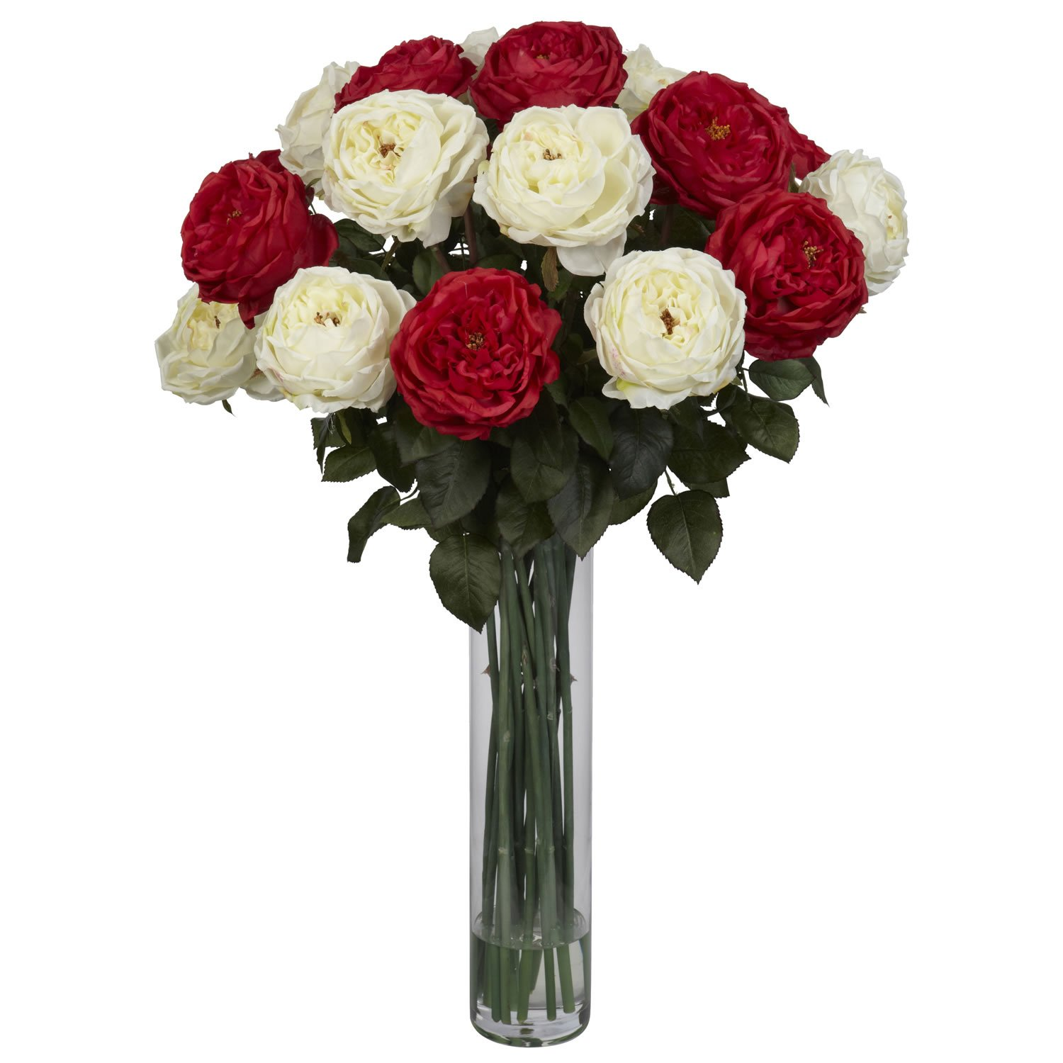 Nearly Natural 1219-RW Fancy Rose Silk Flower Arrangement, Red/White