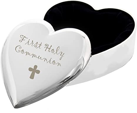 Image of1st First Holy Communion with Cross Silver Finish Heart Shaped Trinket Box Gift for Communion