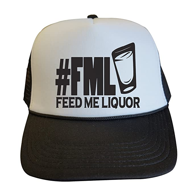 "26aae583 Trendy Womens Party Trucker Hats ""FML Feed Me Liquor"" - Royaltee  Lake Hat"
