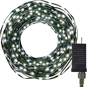 Christmas Lights String 108Ft 200 LED, UL Certified Plug-in 8 Modes Fairy Lights for Xmas Tree, Waterproof Perfect for Outdoor Indoor Garden Wedding Decorations, White