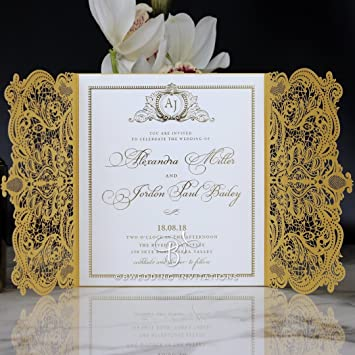 Amazon Com Wedding Invitations Royal Lace With Foil