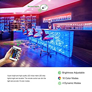 PHOPOLLO LED Strip Lights, 32.8ft RGB(No White) Color Changing 3528 600LEDs Waterproof Flexible LED Tape Light Kit with 24 Key IR Remote Controller and 12V Power Supply for Room, Bedroom and Xmas (Color: Multicolor, Tamaño: 32.8ft)