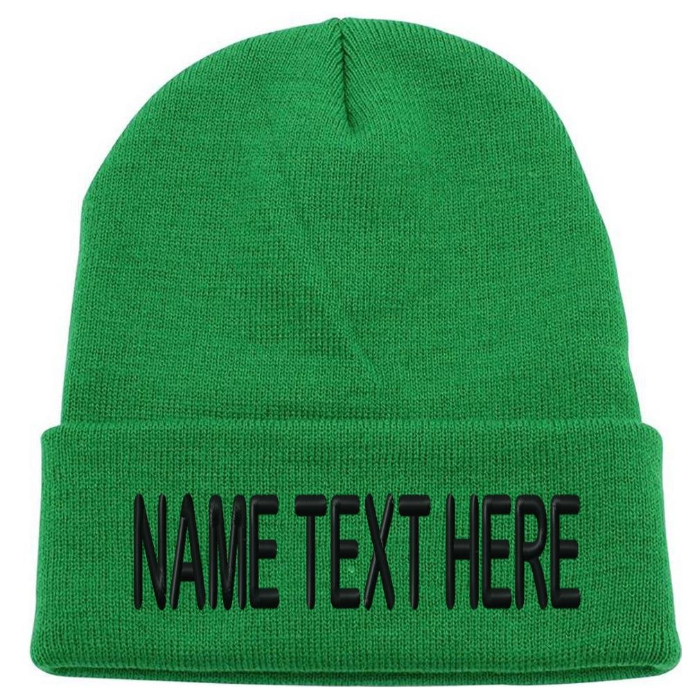 13d5dcd4172 Caprobot ID Custom Embroidery Personalized Name Text Ski Toboggan Knit Cap  Cuffed Beanie Hat - Army Green ... at Amazon Men s Clothing store
