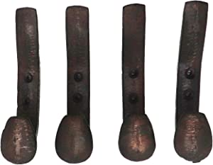 Railroad Spike Coat Hooks, Set of 4 Heavy Duty Brown Rustic Wall Mount Hangers, Cast Iron Vintage Farmhouse Wall Decor, Stylish Organization for Entryway, Bathroom, Bedroom, Living Room, Laundry Room