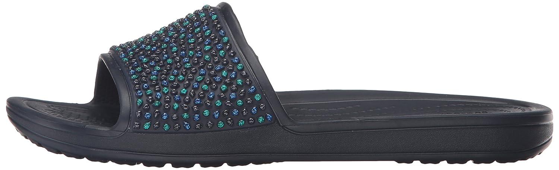 Crocs Sloane Frauen Sloane Crocs verschönerte Slide Sandalen, EUR: 38.5, Navy/Turquoise  - f6eeff