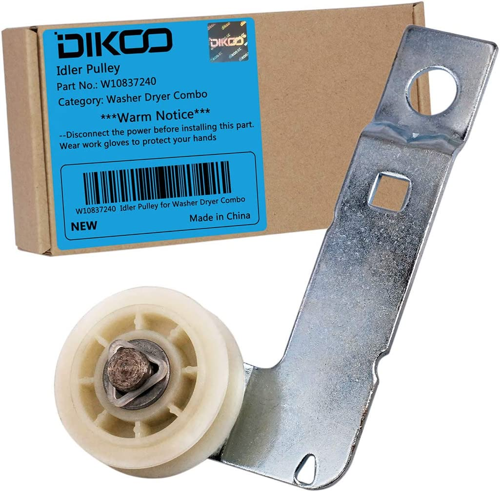 DIKOO W10837240 Dryer Idler Pulley with Bracket for Whirlpool Maytag Kenmore Amana Inglis Dryer Replaces W10547290 W10547287 3387372 3388674