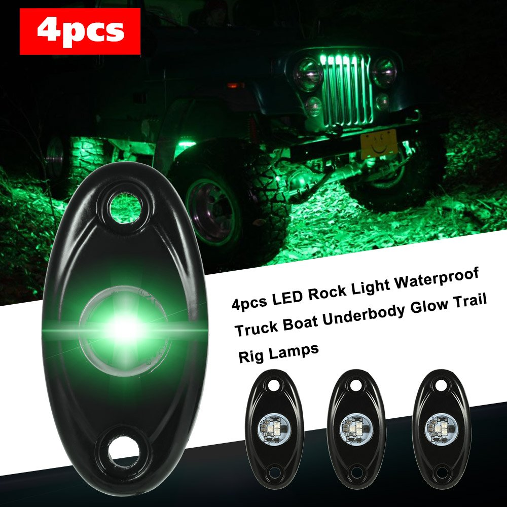 KKmoon 4pcs LED Rock Light impermeabile Truck Boat Underbody Glow Trail Rig Lamps Luce blu