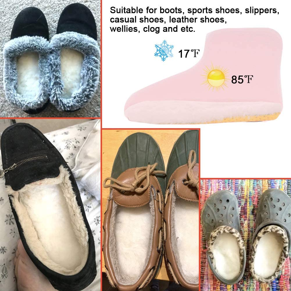 Premium Thick Wool Fur Fleece Warm Inserts for Boots Slippers Sneakers Ailaka Sheepskin Sport Insoles for Women /& Men