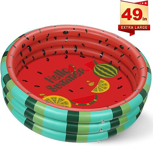 lenbest Piscina de Agua de sandía, Piscina Hinchable para Interior y Exterior, Piscina Inflable Infantil con Material de PVC Duradero para Bebés y Niños y Niñas Pequeños (49x12) : Amazon.es: Jardín