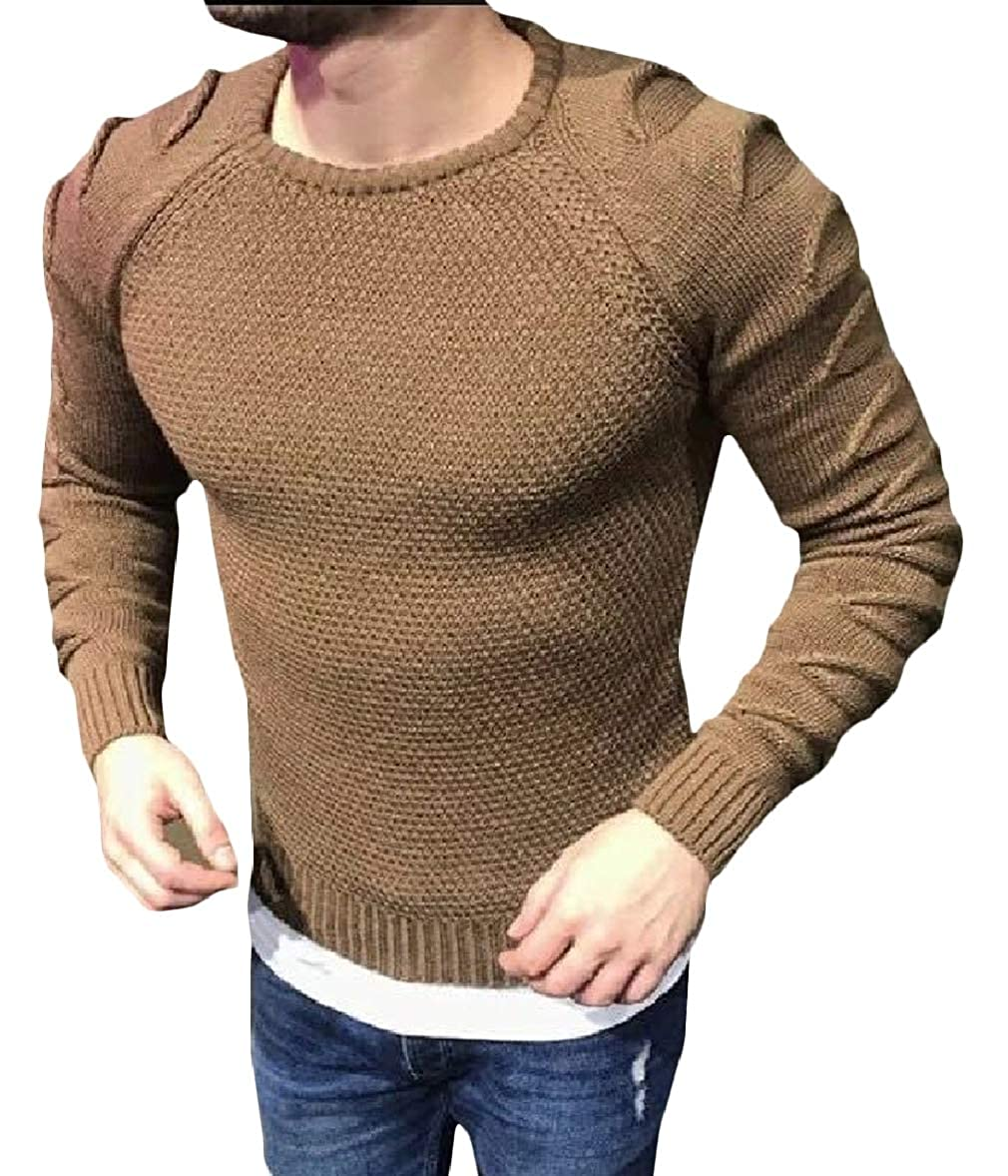 Zimaes-Men Casual Ripped Hole Knitted Long Sleeve Solid Sweater Pullover