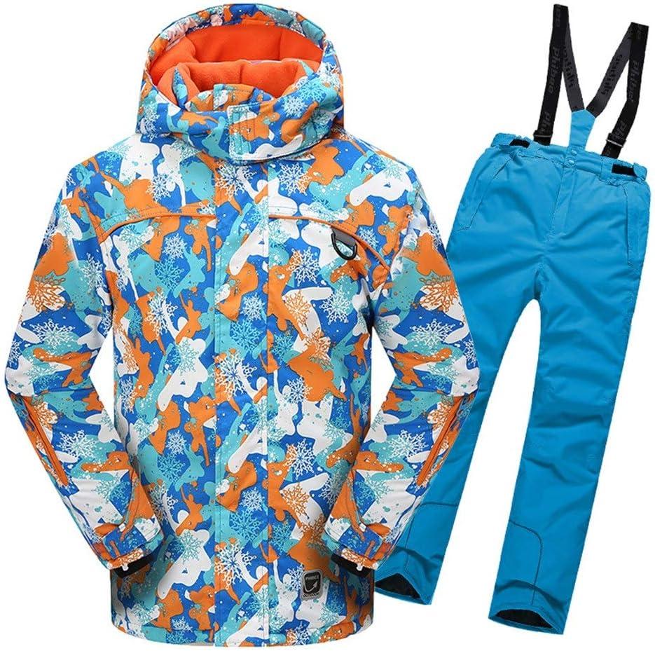 男の子女の子暖かい防風防水スノーシューツフード付きスキージャケットパンツ2個セット (色 : 青, サイズ : 158/164) 青 158/164