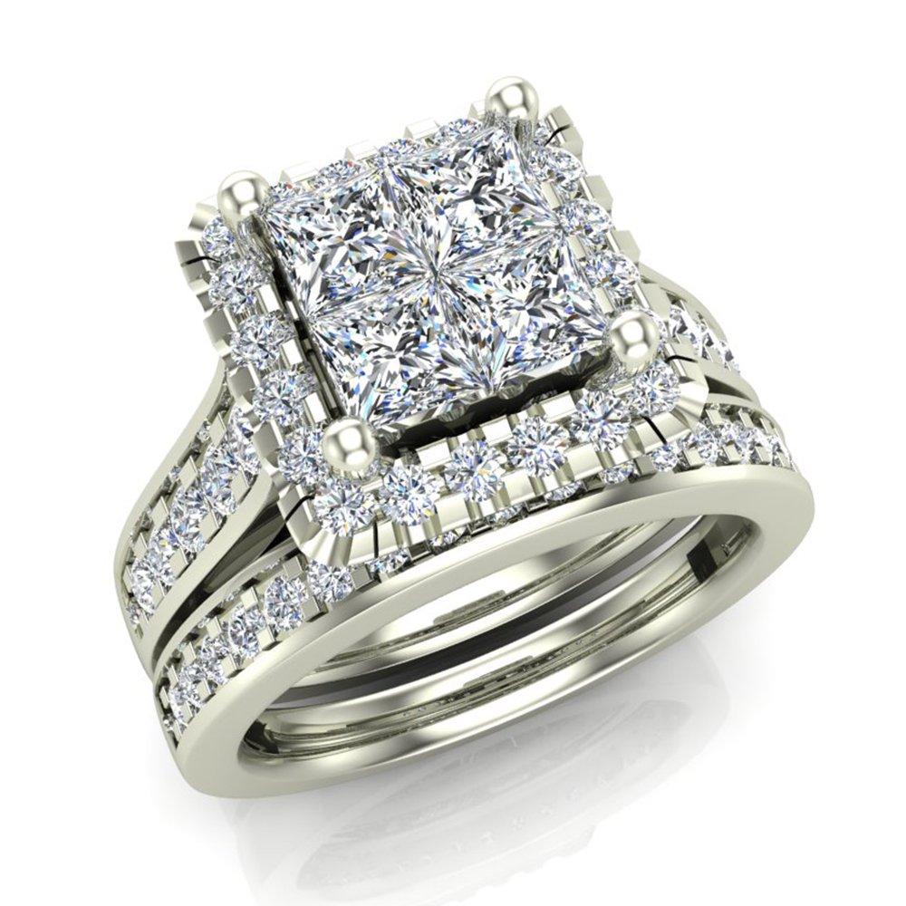 1.80 ct tw Princess Quad with Halo Wedding Engagement Ring Set 14K White Gold (Ring Size 9)