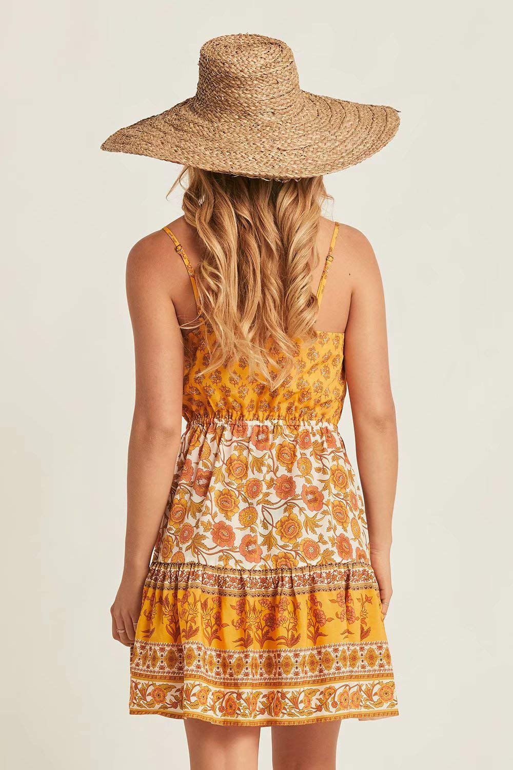 OBERORA Summer Dress for Women Casual Spaghetti Strap Floral Backless Button Up Bohemian Dresses for Women Short