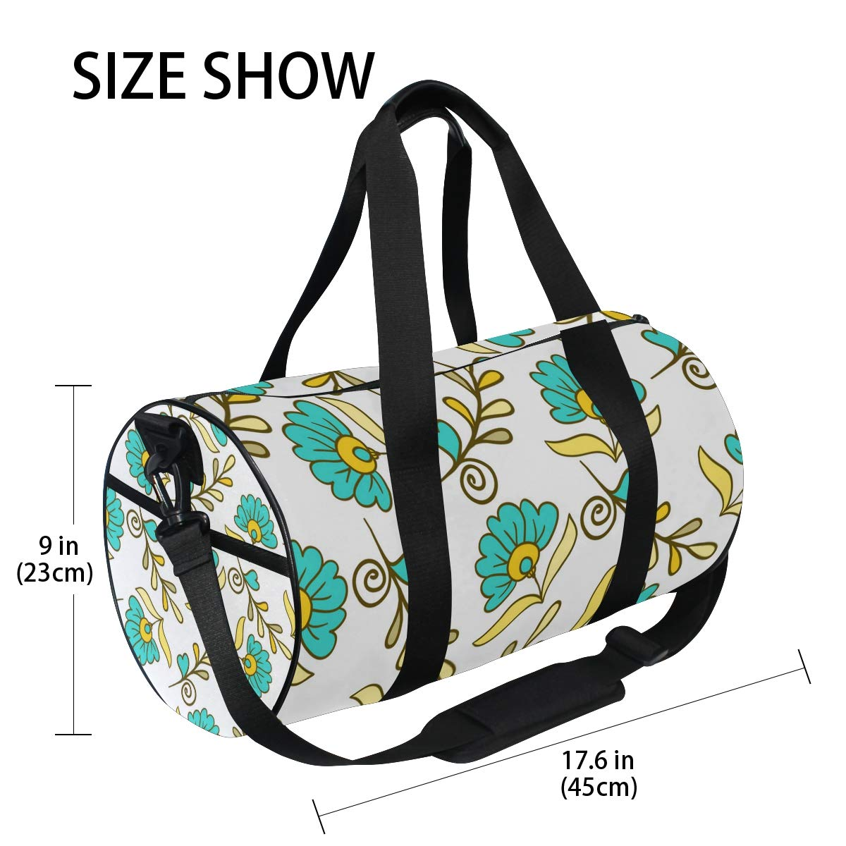 Blue Flower CeramicWaterproof Non-Slip Wearable Crossbody Bag fitness bag Shoulder Bag