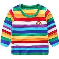Amazon Price History:Boys Rainbow Striped Shirt Cotton Long Sleeve T-Shirts