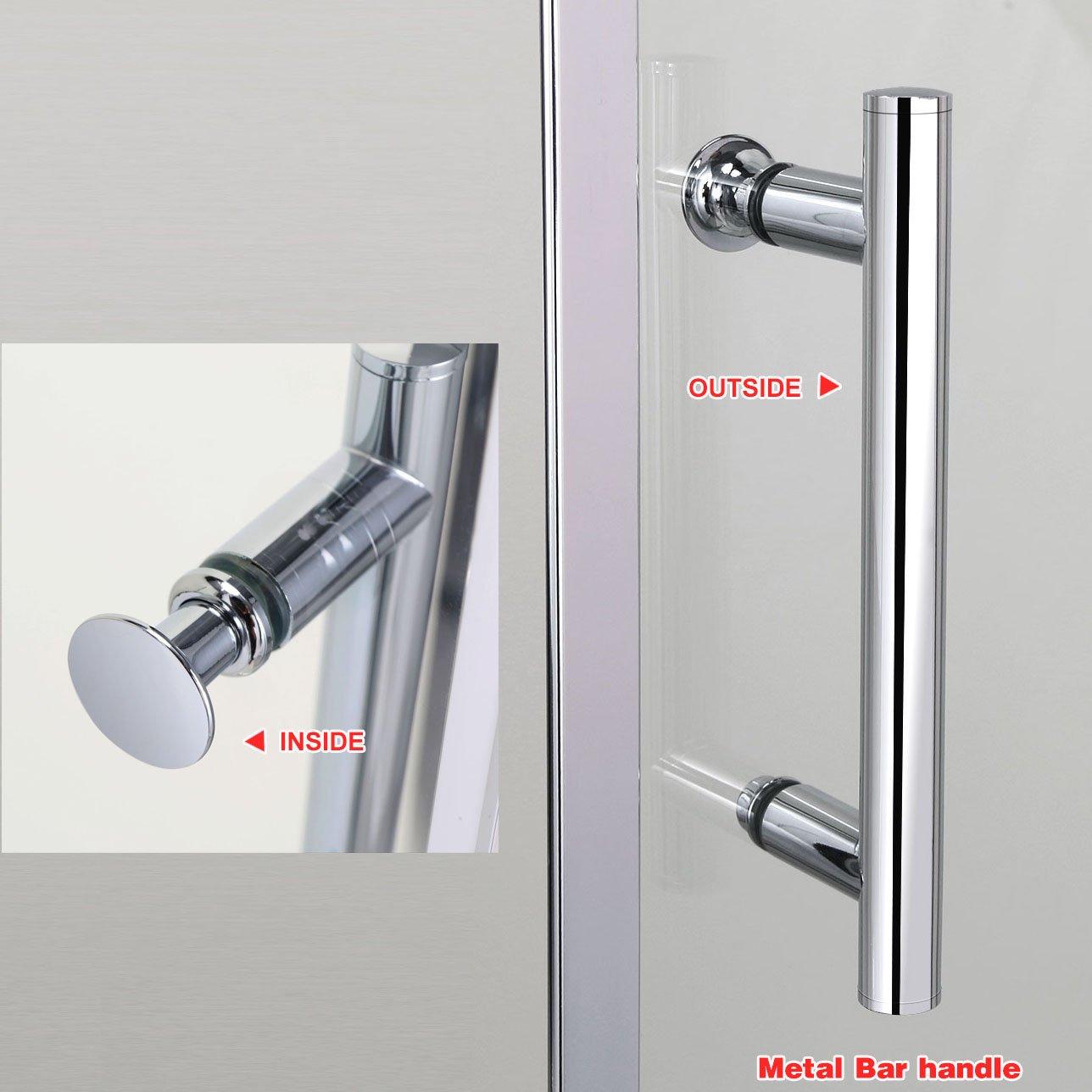 SIRHONA Porte de douche coulissante paroi de douche pare-douche verre de s/écurit/é 140x90x185cm