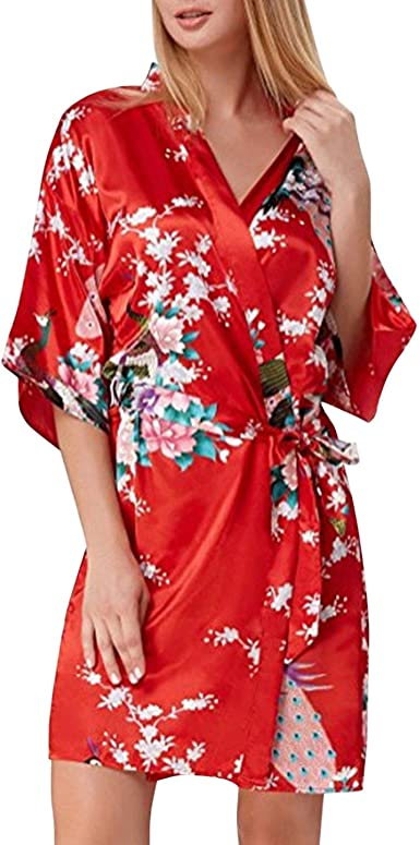 Mujer Pijamas Mujer Verano Floreadas Satín Camisones Cómodo ...