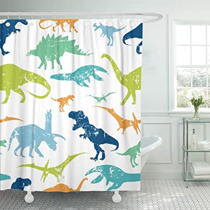 Emvency 72quotx78quot Shower Curtain Waterproof Green Dino Pattern For Textiles Original Design With