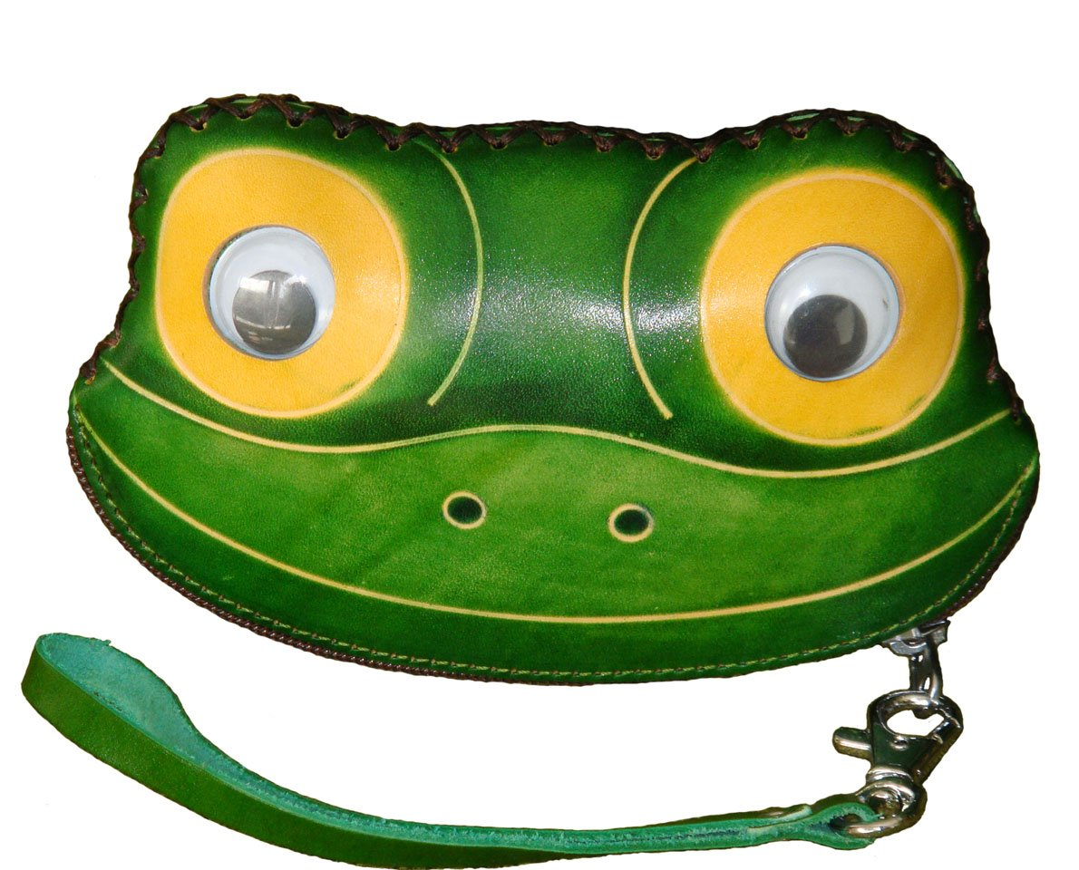 Leather Change Purse,Jewelry Holder.Green Delicate &Pretty Frog Face Pattern, Zipper.