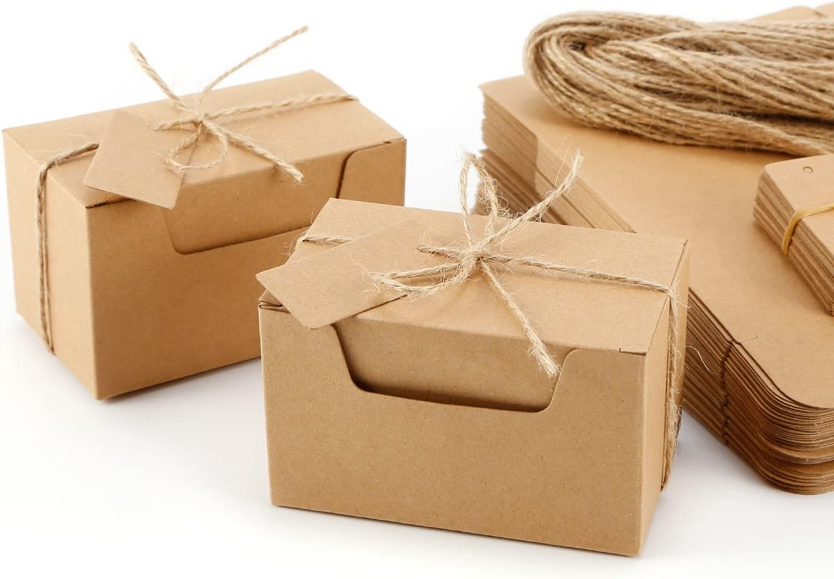 Set de 50 Cajas para dulces regalos Jabón Caja kraft de boda Rútico Cajita de Rectángulo Kraft Paper