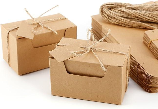 Set de 50 Cajas para dulces regalos Jabón Caja kraft de boda Rútico Cajita de Rectángulo Kraft Paper: Amazon.es: Hogar