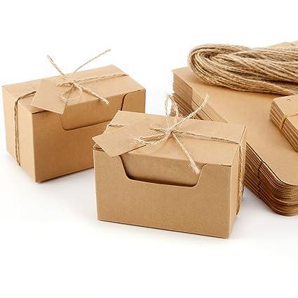 CLE DE TOUS - Set de 50 Cajas para dulces regalos Jabón Caja kraft de boda