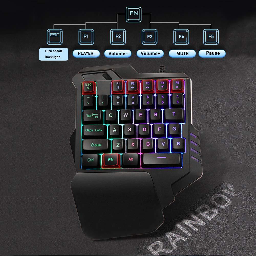 con Cable 35 Teclas Rainbow Lexon Tech G30 Teclado para Juegos con una Sola Mano Mini Teclado para Juegos Negro retroiluminaci/ón por LED Teclado de una Mano para computadora port/átil PC