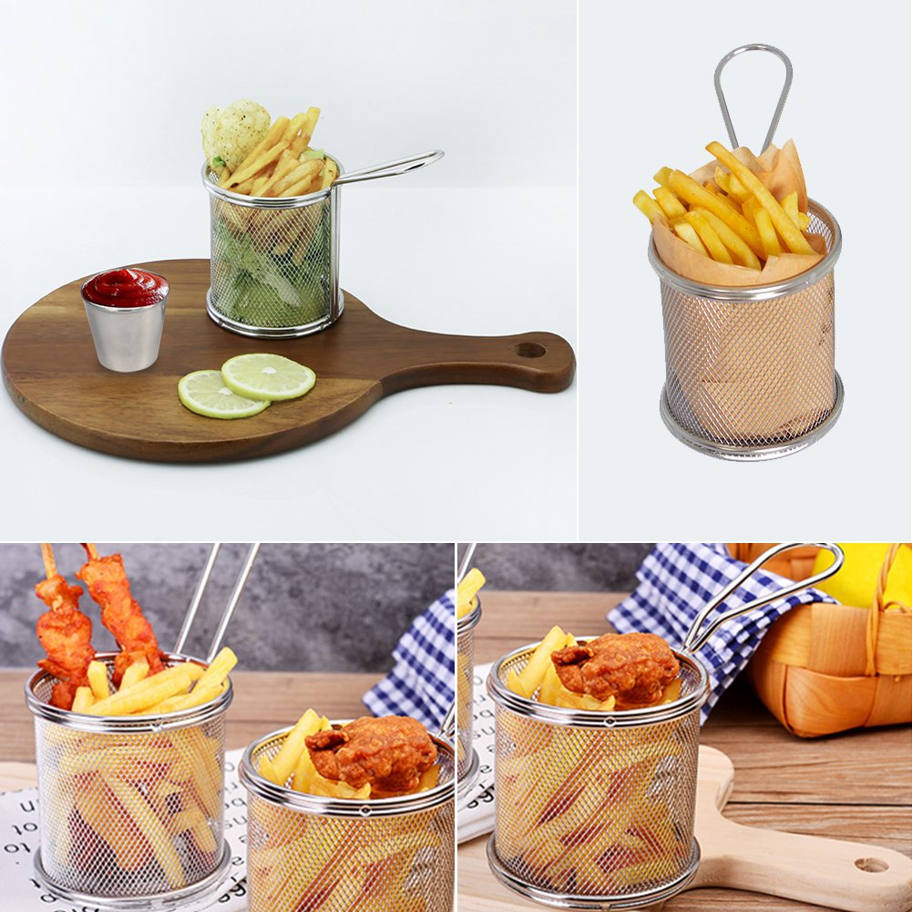 2pcs paniers + 2pcs Tasses Paniers /à Frites en Acier Inoxydable Fran/çais Frites Maille Friteuse Porte-Panier Outil de Cuisson avec Sauce Tasse pour Table