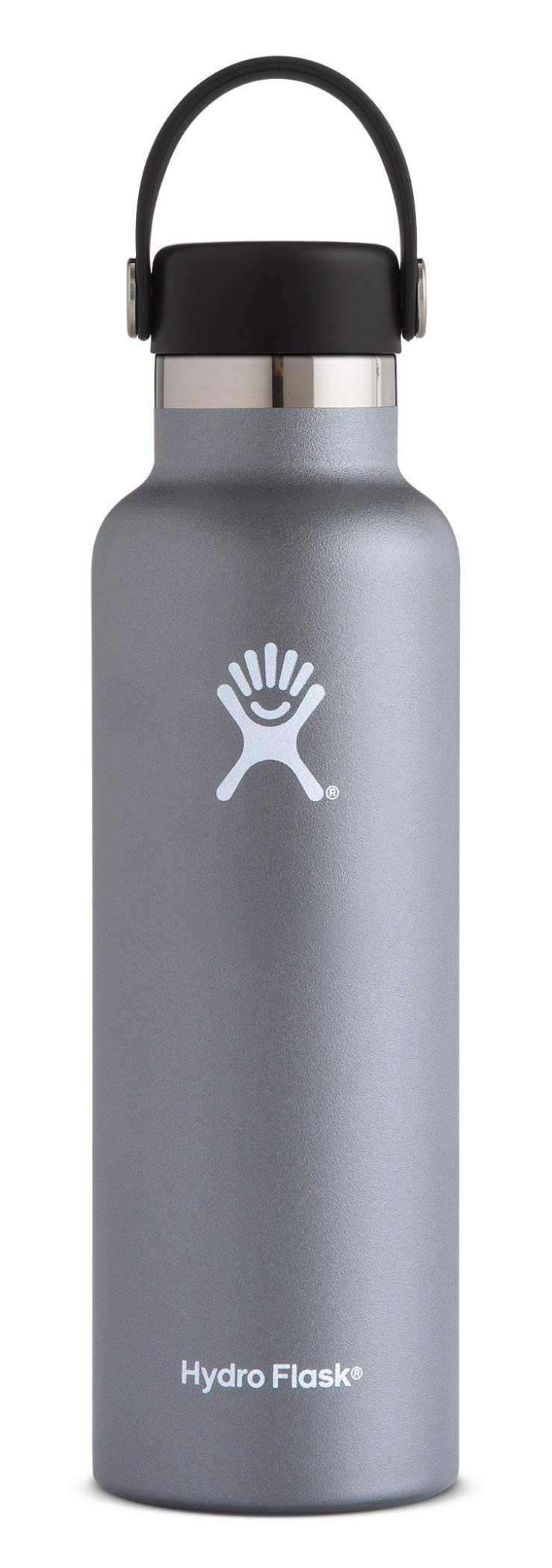 Hydro Flask Water Bottle - Stainless Steel & Vacuum Insulated - Standard Mouth with Leak Proof Flex Cap - 21 oz, Graphite by Hydro Flask