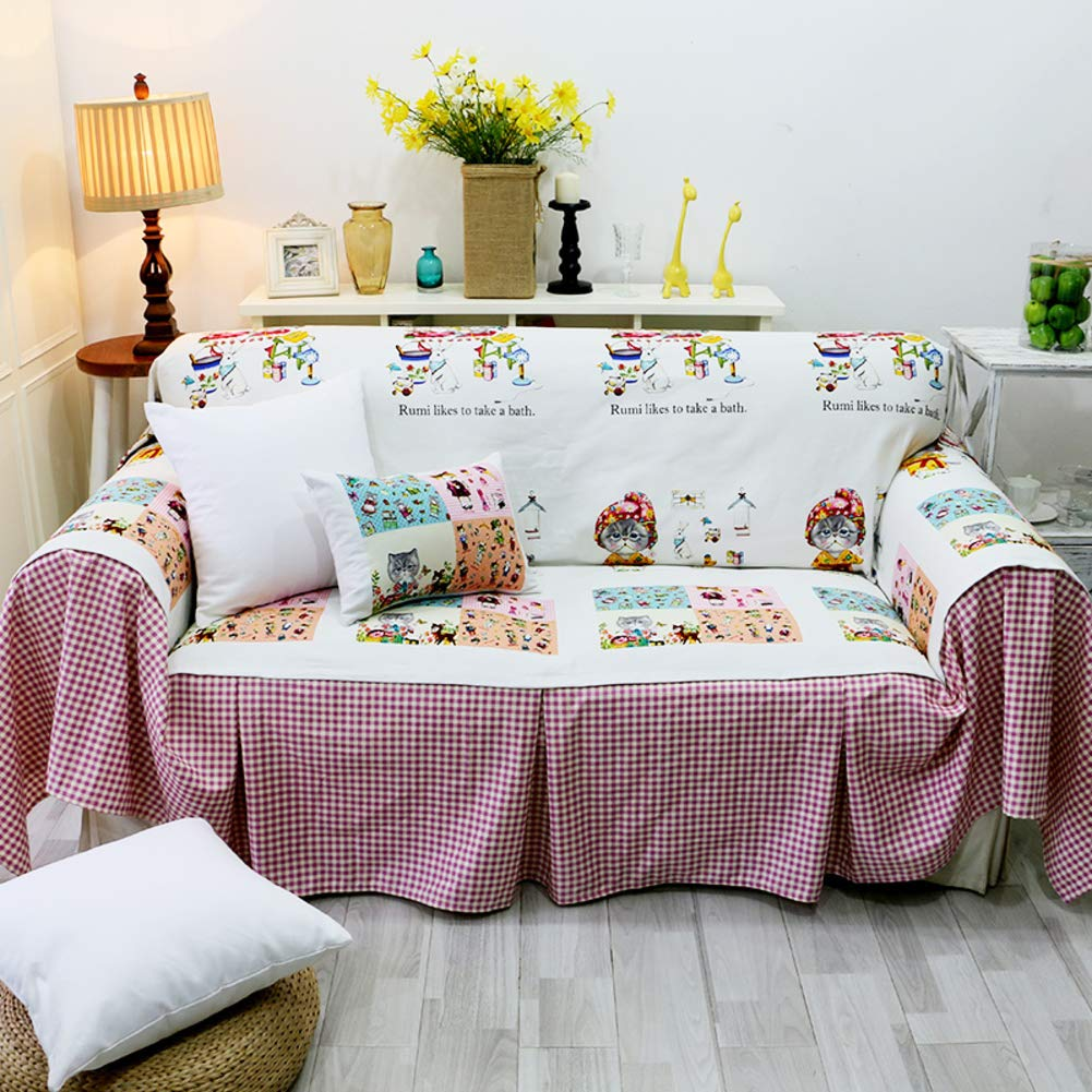 HM&DX Sofa Cover Slipcover For Pet Linen Anti-slip Animal Pattern Couch Cover Furniture Protector For 1 2 3 4 Cushion Couch-A 300x180cm(118x71inch)