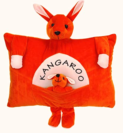 Funny Teddy Kangaroo Baby Cushion Pillow with Mother Teddy and Her Baby (Orange) - Decorative Cushion for Couch Bed Car L Super Soft Stuffed Plush Toy