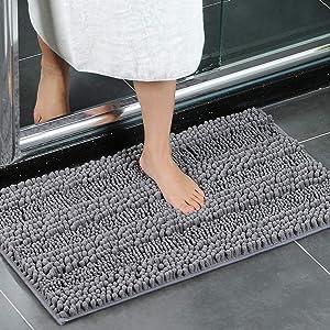 XIYUNTE Bath Mat Non Slip - 20 x 32 inch (50 × 80cm) Soft Chenille Doormats Bathroom Rugs Absorbent Shower Rugs Machine-Washable Bathtub Mats Carpet Rug for Bathroom,Kitchen,Home