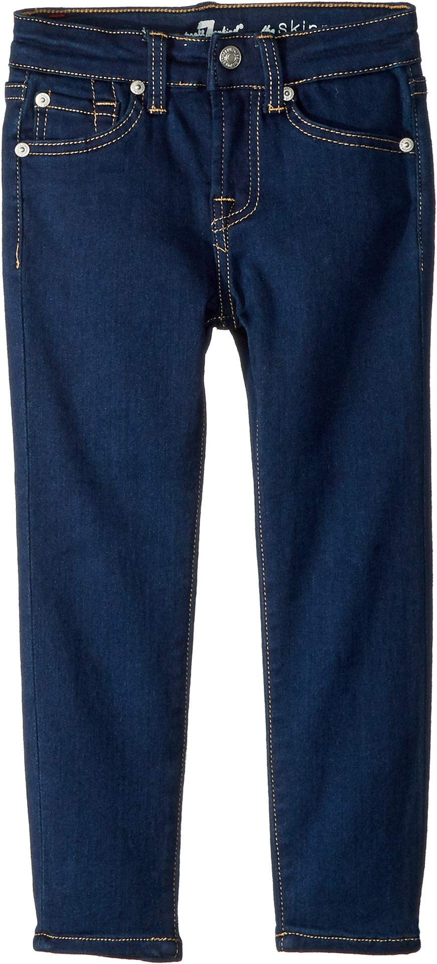 7 For All Mankind Kids Girl's Skinny Jeans in Rinsed Indigo (Little Kids) Rinsed Indigo 4 US Little Kid