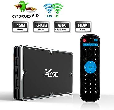 Android TV Box 9.0, X96H Smart TV Box – 4 GB RAM 64 GB ROM Allwinner H603