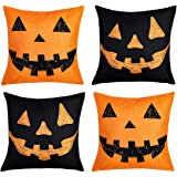 peony man 4 Pcs Happy Halloween Pumpkin Grimace Throw Pillow Covers Pillow Cases Cotton Linen Cushion Cover with Hidden…