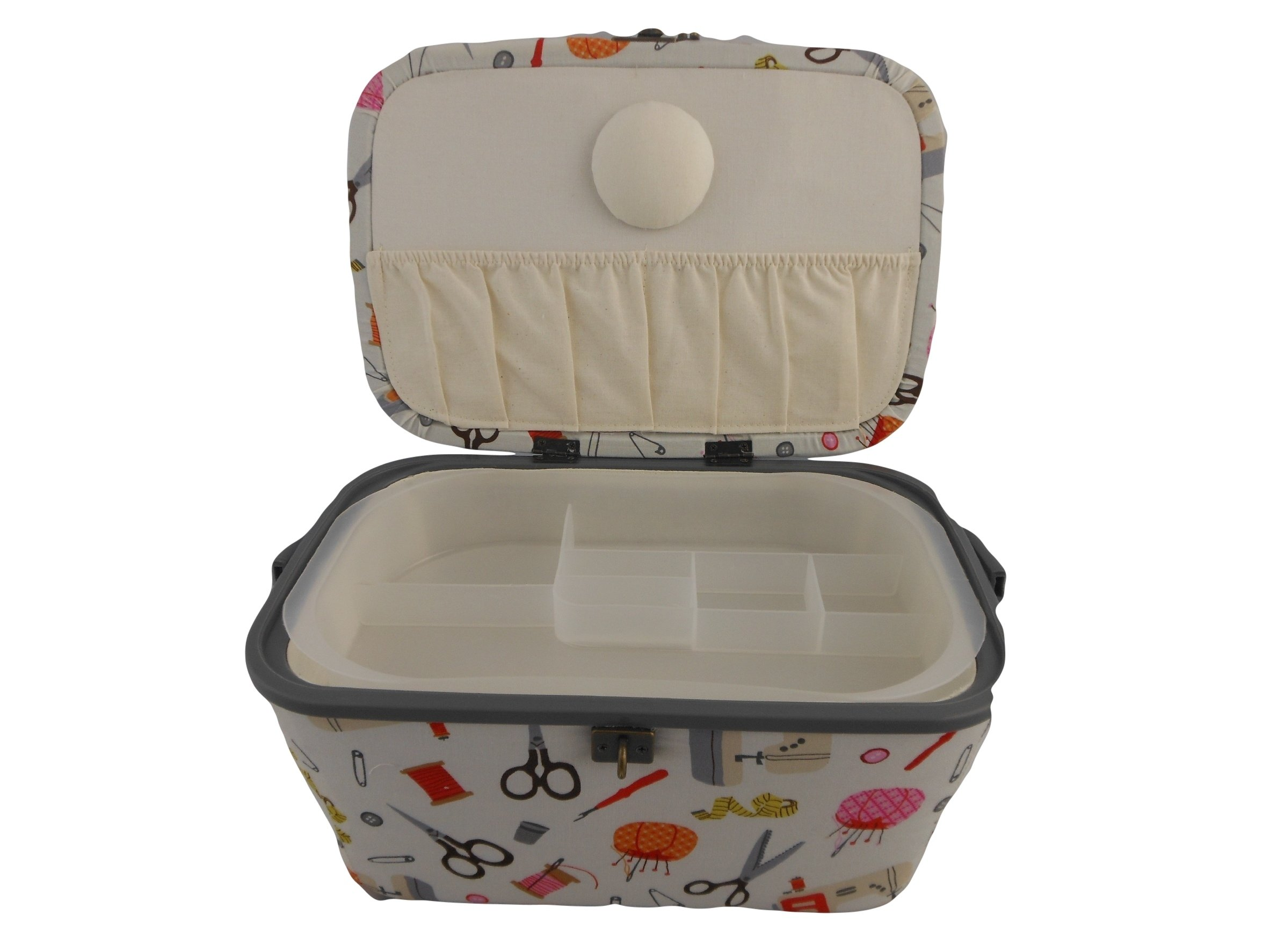 Galleon Dritz Sewing Basket With Notions Light Beige