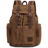 KAUKKO Canvas Vintage Backpack Casual Daypack School Leather Rucksack Laptop Bag (02-Khaki)
