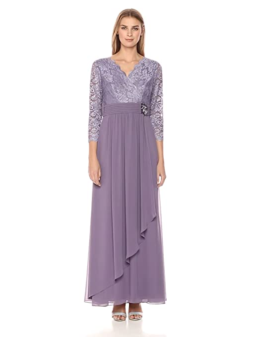 Edwardian Evening Gowns | Victorian Evening Dresses Alex Evenings Womens Lace a-Line Dress With Beaded Waist Detail $219.00 AT vintagedancer.com