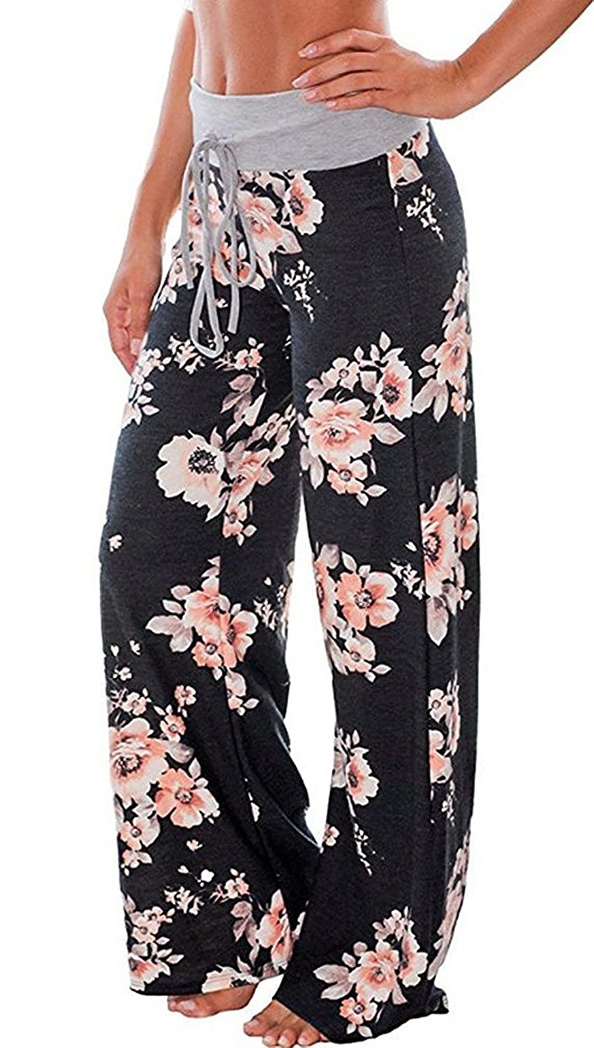 7a7a943132 AMiERY Women s Comfy Casual Pajama Pants Floral Print Drawstring Palazzo Lounge  Pants Wide Leg at Amazon Women s Clothing store