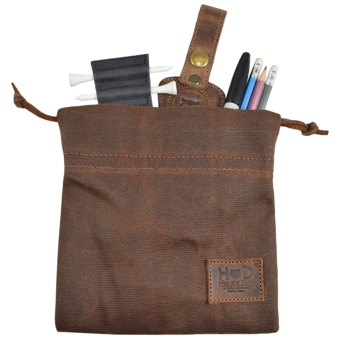 Hide & Drink Waxed Canvas Golf Valuables Field/Travel/Tech/Board Game Dice Pouch Handmade by Honey Bourbon
