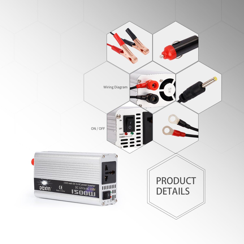 Leshp Car Power Inverter Converter 500w 12v Dc To 110v Wiring Diagram Ac Cigarette Lighter Modified Sine Wave