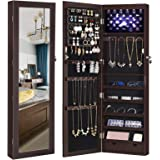 """SONGMICS 6 LEDs Cabinet Lockable 47.3"""" H Wall/Door Mounted Jewelry Armoire Organizer with Mirror, 2 Drawers, Mother's Day gift, Dark Brown UJJC93K"""