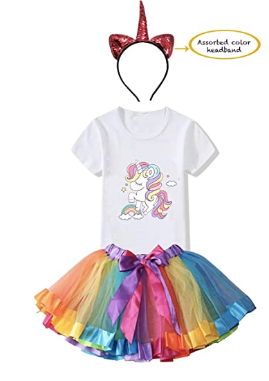 FancyDressWale Unicorn Birthday Princess Dress for Girls Tutu Skirt, T-Shirt and Assorted Head…