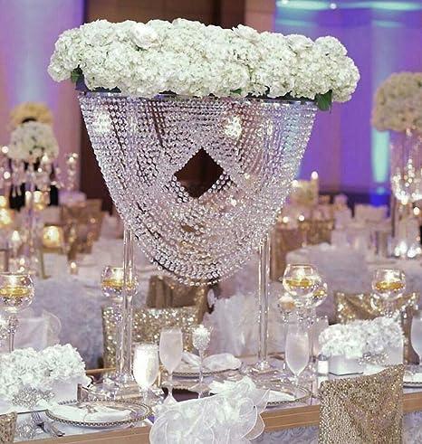 Everbon Juego De 4 Centros De Mesa De 31 5 De Alto Para Boda Cristales Flores Lámparas De Araña Acrílico Flores Para Decoración De Fiestas Home Kitchen