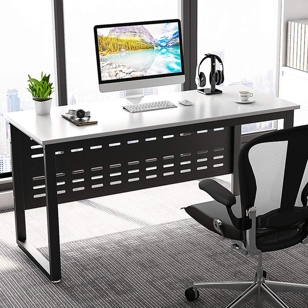 Computer Desk, LITTLE TREE 55 inch Large Office Desk Writing Gaming Table Workstation Furniture for Home Office, White + Black Metal Legs by LITTLE TREE