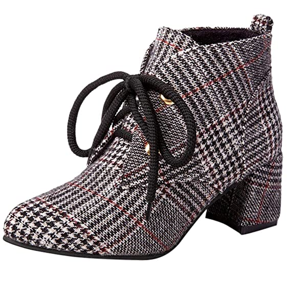 Amazon.com: Rucan Womens Fashion Plaid Cloth Shoes Pointed-Toe Non-Slip Thick Heel Martin Boots: Sports & Outdoors