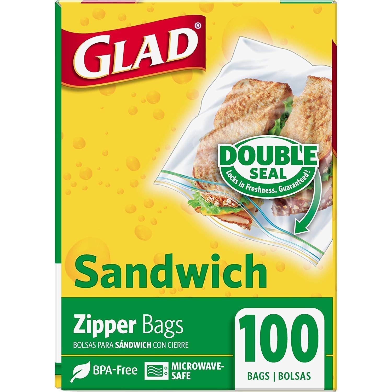 Glad Double Seal Sandwich Zipper Bags - 100 Bags Each x 3 Pack - Total 300 Bags